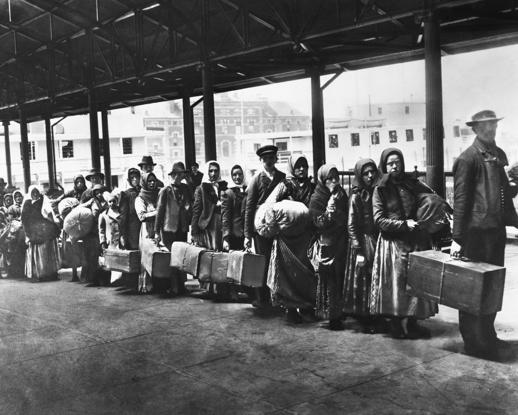 Immigrants On Line On Ellis Island.
